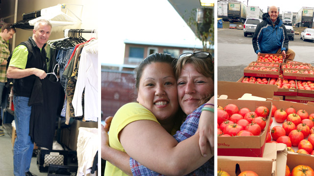 Sorting clothes, women hugging, large tomato donation