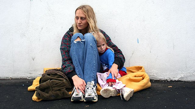 homeless, on the street, poor, woman, child