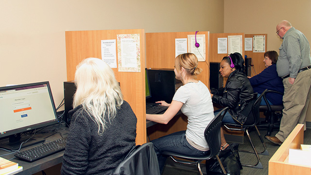 ladies using Computer Lab