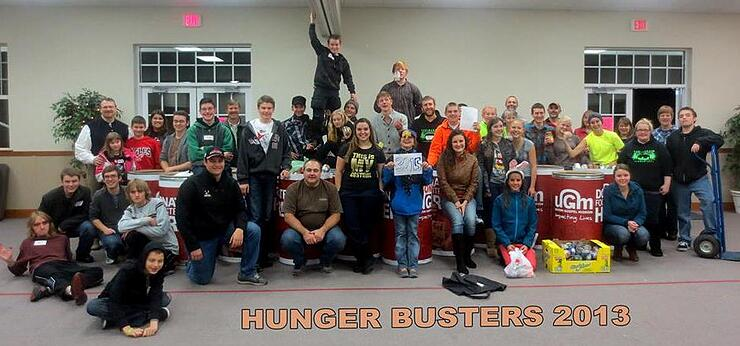 youth group collects food for homeless