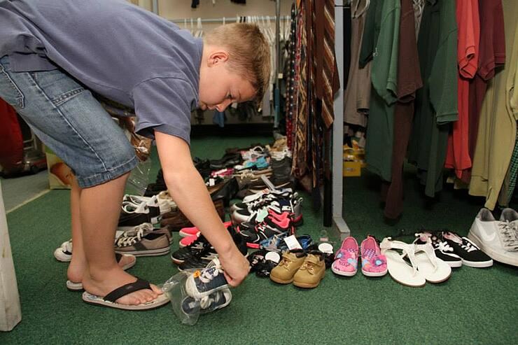 11-year-old boy collects shoes for homeless on his birthday