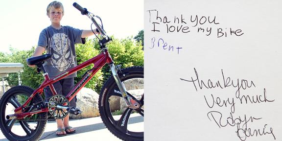 Brent says thanks for new bike