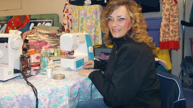 Glenda at the sewing machine