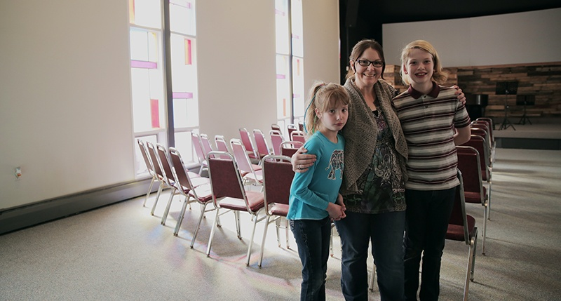 Caden, right, and Teryn with Pam, the pastor who oversees Liferoads Church's team that conducts UGM Camp.