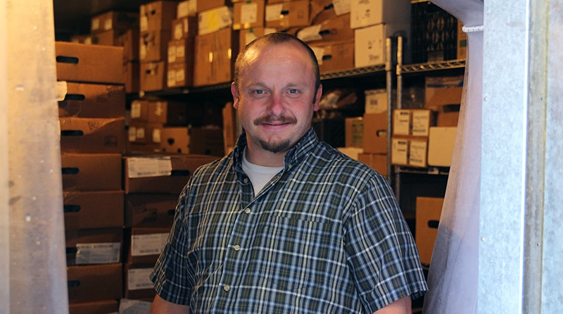 Residents of the Men's Shelter respond well to being given responsibilities, like David works in warehousing.