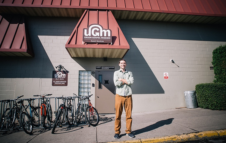 Matt Lewis helps the homeless at UGM, sharing the passionate love of a good God at the Men's Shelter.